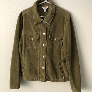 Talbots Green Corduroy Stretch Button Up Jacket